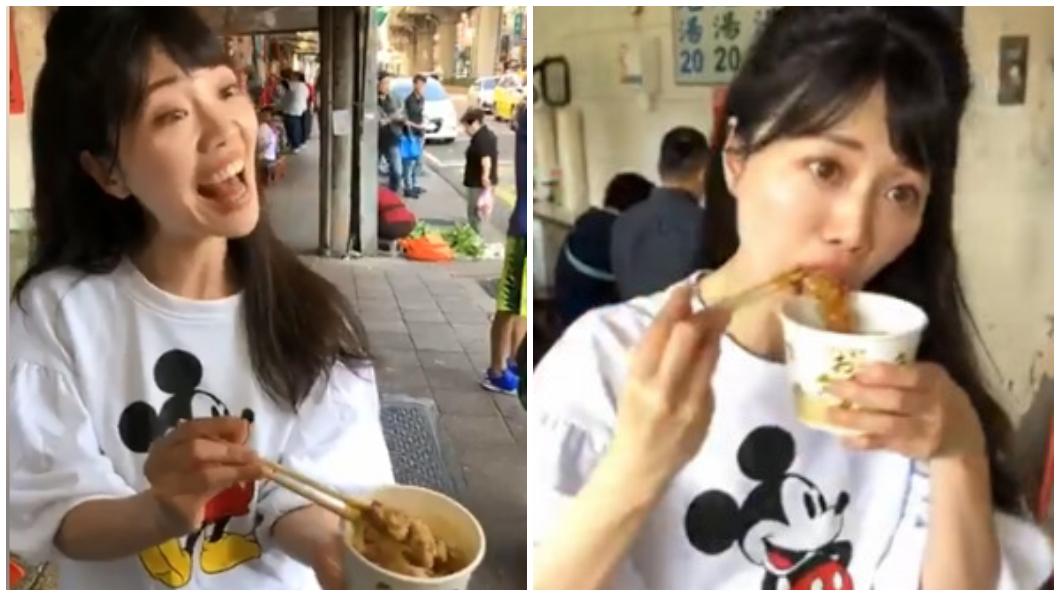 選後高嘉瑜到湖光市場感謝選民,受到攤商熱烈支持、送上美食,讓她整路捧肉圓謝票。圖/翻攝高嘉瑜臉書