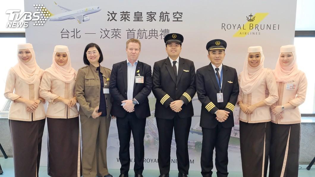 圖/中央社 汶萊皇家航空復飛首航 每週3班直飛台灣