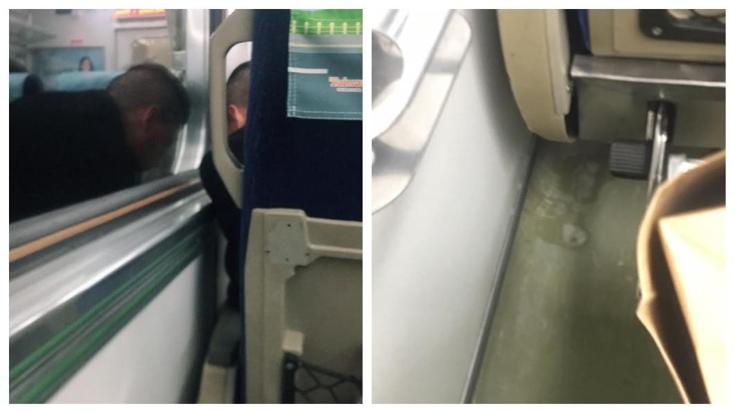 有民眾在台鐵車廂上,目睹男子吐痰。(圖/翻攝自爆料公社) 快吐了!噁男台鐵車廂亂吐痰 乘客目睹驚嚇:整車口水味