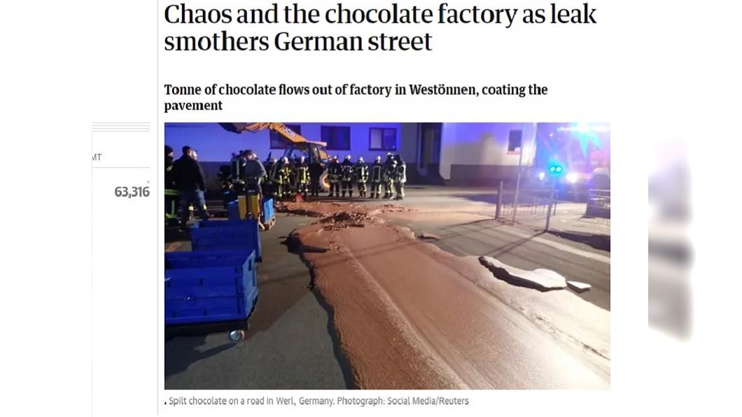 圖/翻攝自The Guardian 真是場「甜蜜災難」! 一噸巧克力外洩鋪成馬路