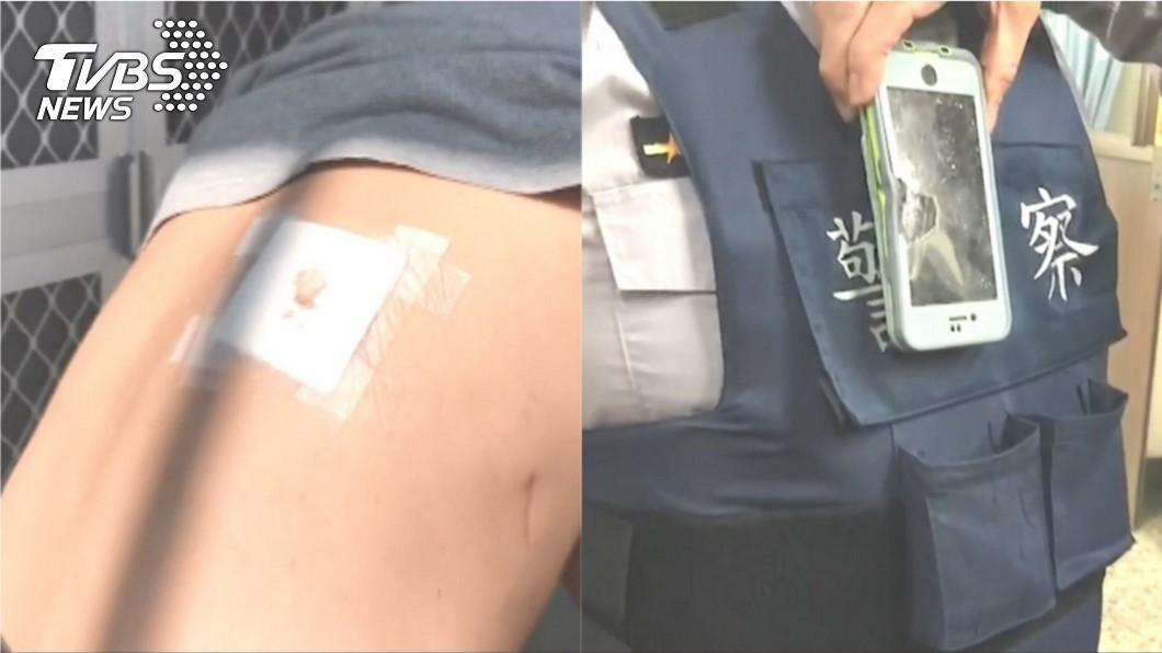台南玉井員警遭到男子開槍射擊,所幸員警身穿防彈背心,加上背心上的口袋裝有警用的行動裝置,抵擋子彈衝擊。圖/TVBS 全台1天3起襲警 「開11槍傷5警」基層嘆:不受尊重