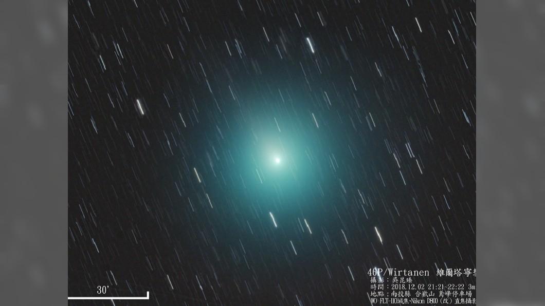 維爾塔寧彗星(46P/Wirtanen)是少數可用肉眼直接見到的彗星。圖/中央社 快抬頭!今晚維爾塔寧彗星放閃 這些地方可看到