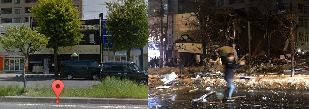 居酒屋海櫻爆炸前(左)與爆炸後(右)的模樣。圖/翻攝自推特@kinoko_of_1122