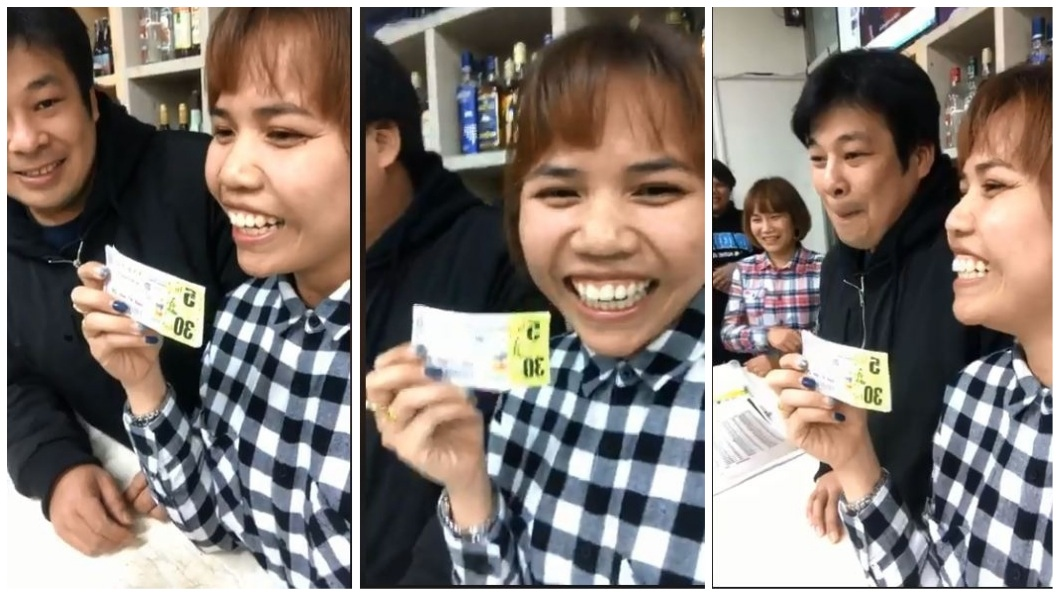 泰國一名女子賣了店內最後一張彩券,幸運地中了頭獎。(圖/翻攝自臉書) 店內最後一張彩券沒人要 打工妹買下爽中3千萬頭獎