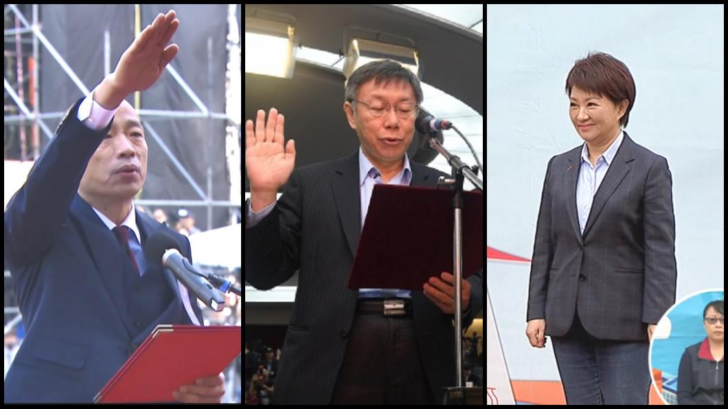 圖/中央社拼圖 盤點北中高三市長就職演說 柯P最短韓總像寫詩
