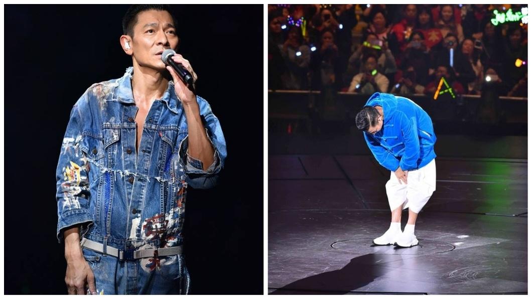 劉德華不捨落淚地向歌迷鞠躬道歉。(圖/翻攝自My Love Andy Lau World Tour臉書粉絲團)