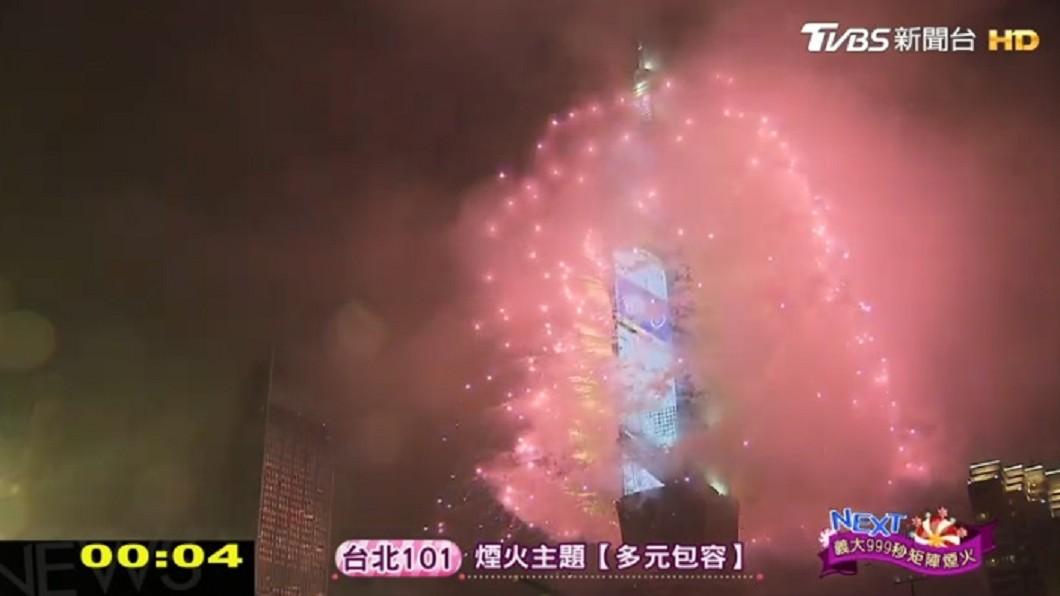 《台北最High新年城》今(31日)登場,台北市政府前吸引萬名人潮聚集,一同迎接2019。圖/TVBS 迎向2019!101煙火秀狂撒360秒 展現台灣特色