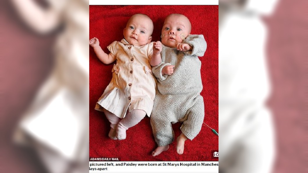 英國1對龍鳳胎相差12天才分別出生。圖/翻攝自每日郵報 破紀錄!她懷龍鳳胎 兄妹生日竟差12天