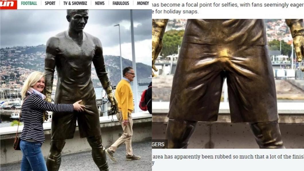 足球巨星C羅的銅像「那話兒」被遊客摸得閃亮亮,成為另類亮點。圖/翻攝自《太陽報》 女粉興奮伸鹹豬手 C羅「那話兒」慘被摸
