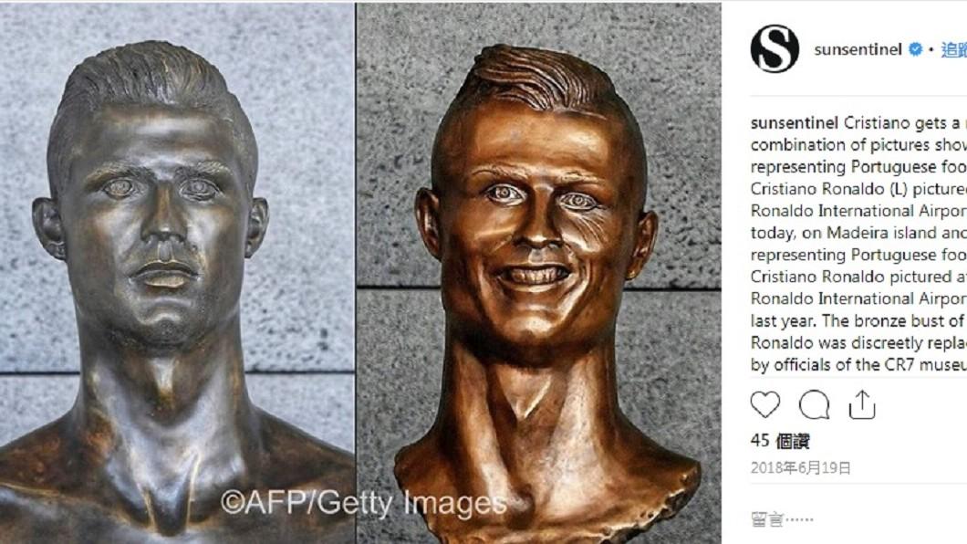 先前曾有設計師將C羅銅像設計太醜,引起民怨。圖/翻攝自Instagram