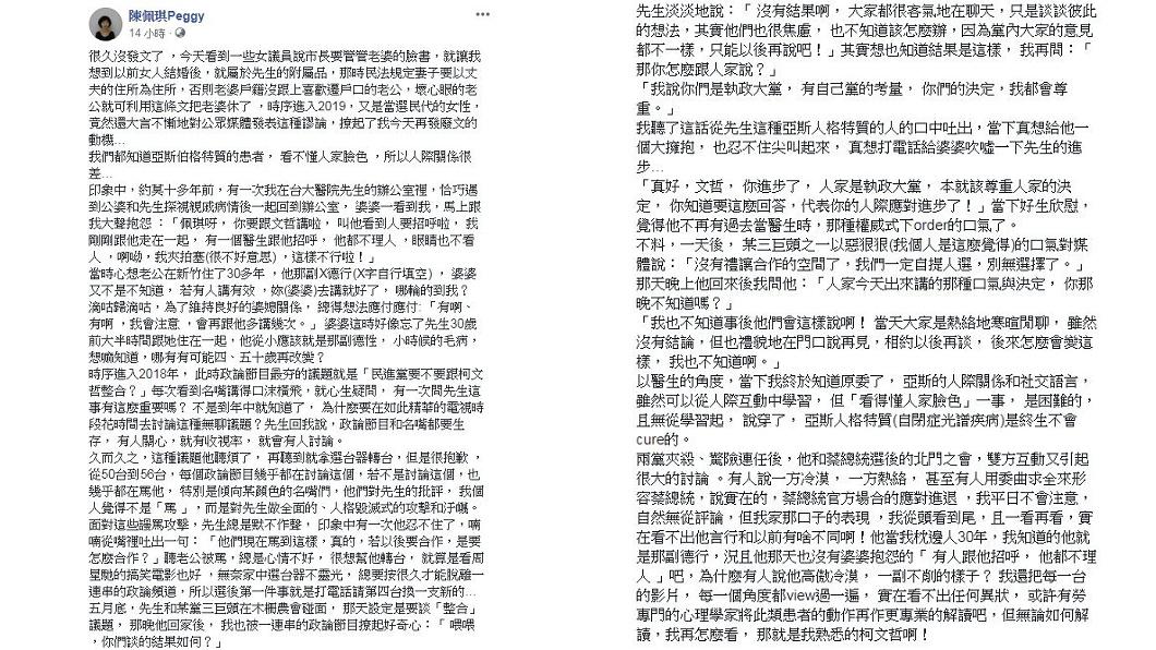 陳佩琪在臉書狠嗆女議員要柯P管老婆一事。圖/翻攝自陳佩琪臉書