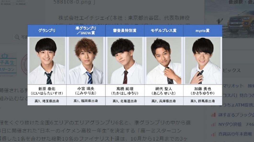 日本每年都會舉辦全國「最帥高中生」選拔活動。圖/翻攝自BIGLOBE 日本「最帥高中生」是他!上台淚崩女粉全暴動