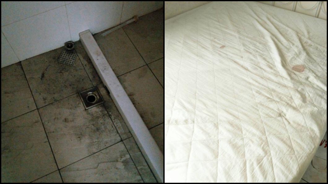 排水孔髒亂,床墊也有血跡。圖/TVBS