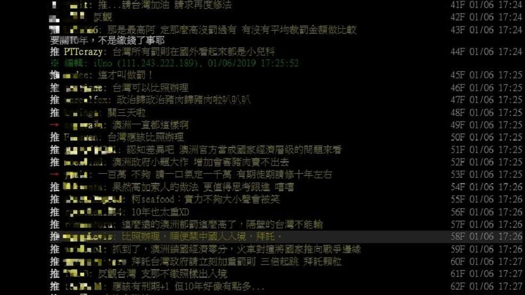 防堵非洲豬瘟疫情擴散,澳洲祭出重罰,不少網友則認為台灣罰款太輕,對某些人來說根本不痛不癢。圖/翻攝自PTT