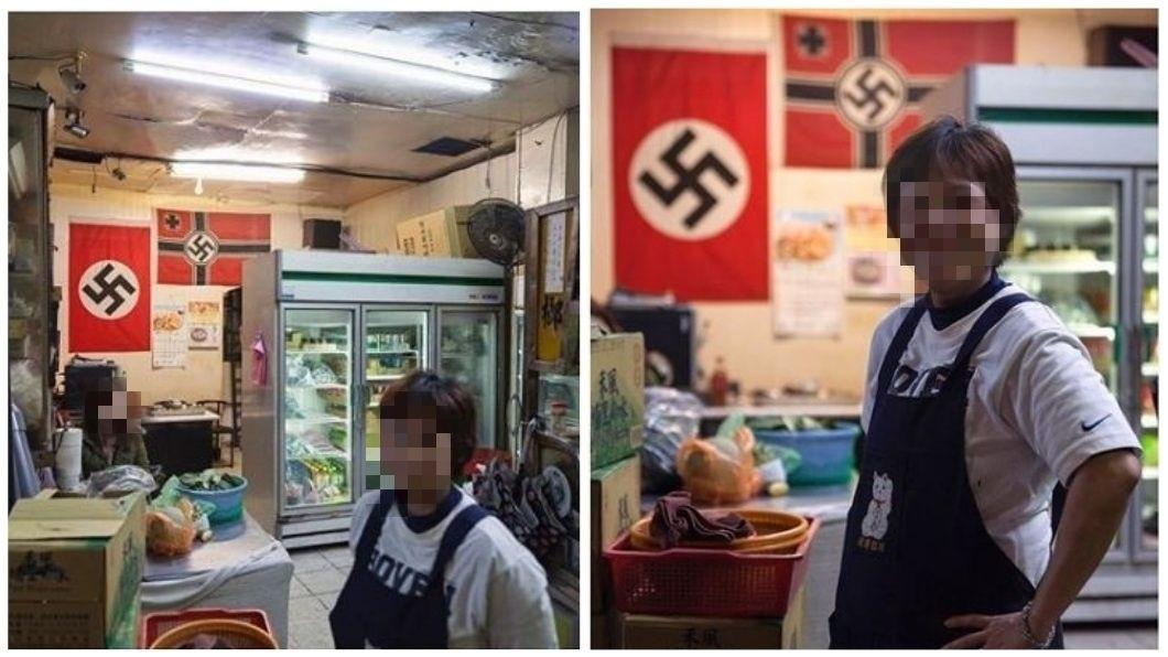 美國一名攝影師在萬華一間檳榔攤拍到,店內懸掛兩面納粹旗幟。(圖/翻攝自IG) 萬華檳榔攤掛納粹旗 老外:絕對無知!台灣讓我失望