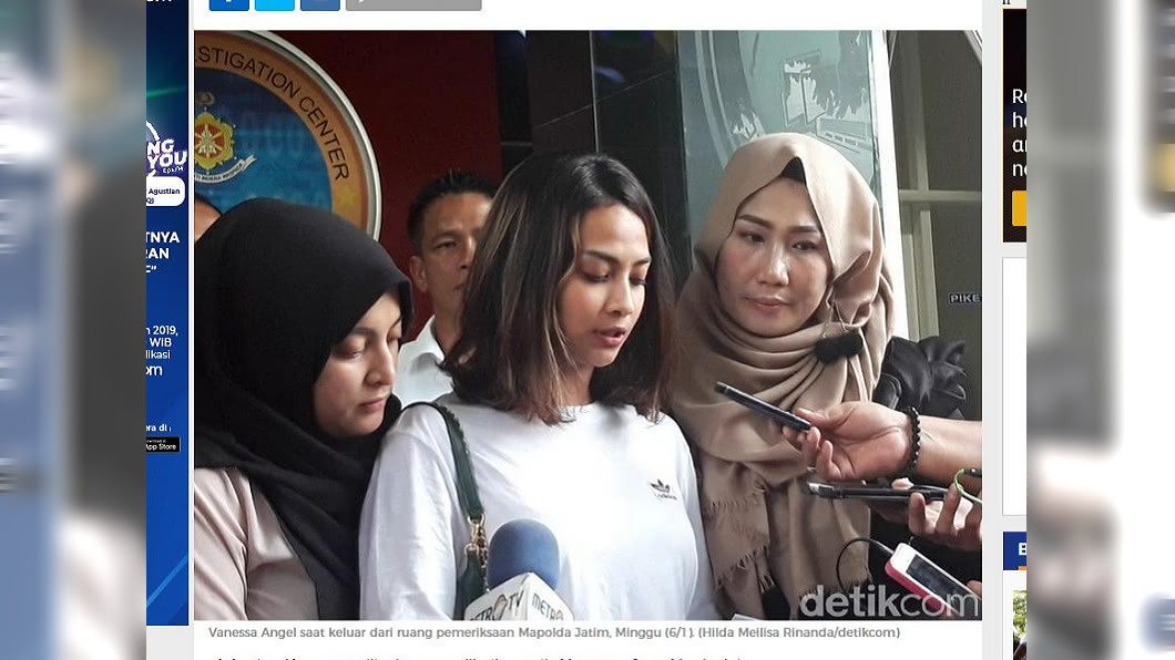 凡妮莎安潔兒賣淫一事遭到媒體大肆報導。圖/翻攝自detikNews網站