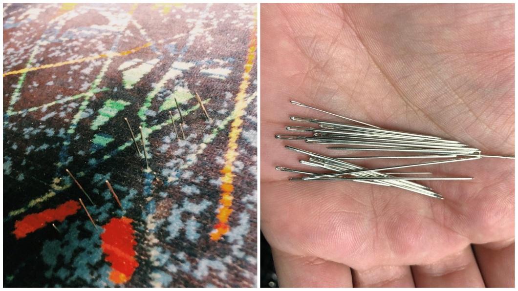 澳洲一名男子搭地鐵上班時,沒注意椅子上竟然插著縫衣針,他坐下後被刺傷。(圖/翻攝自推特) 刺刺的!男搭地鐵上班 驚見座椅插上「20根縫衣針」
