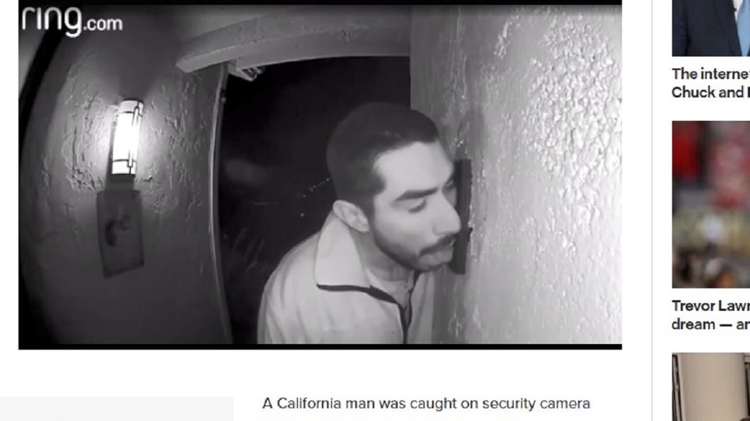 男子深夜跑到別人家門口,與電鈴忘情狂喇3小時。圖/截取自紐約郵報 男子深夜忘情喇舌3小時 對象是「它」屋主看傻!