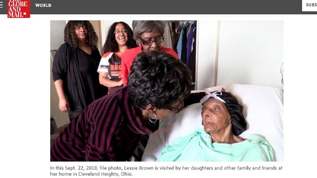 美國最老人瑞瑞萊西·布朗於美國週二(8日)與世長辭,享嵩壽114歲。圖/翻攝自The Globe and Mail 114歲美國最老阿嬤辭世 家人曝長壽秘訣是「吃這個」
