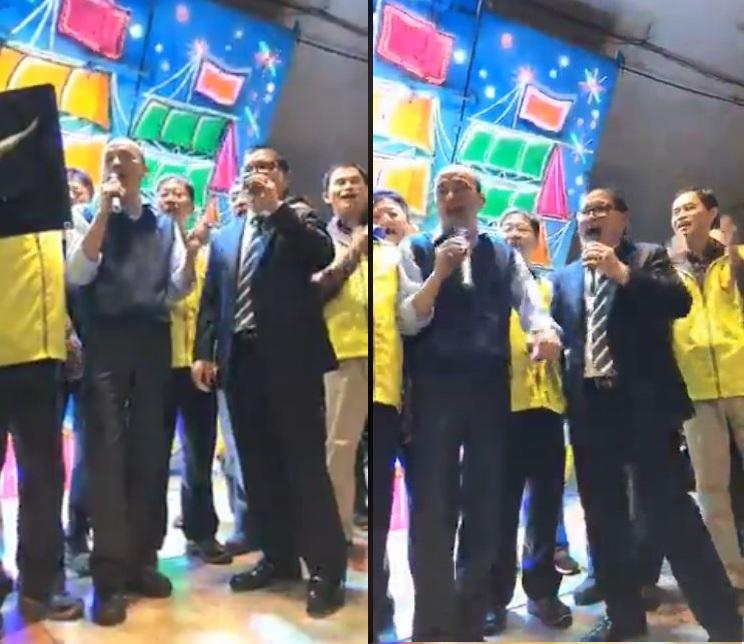 韓國瑜還和老同事高歌一曲,現場氣氛熱絡。(圖/翻攝自韓國瑜臉書)