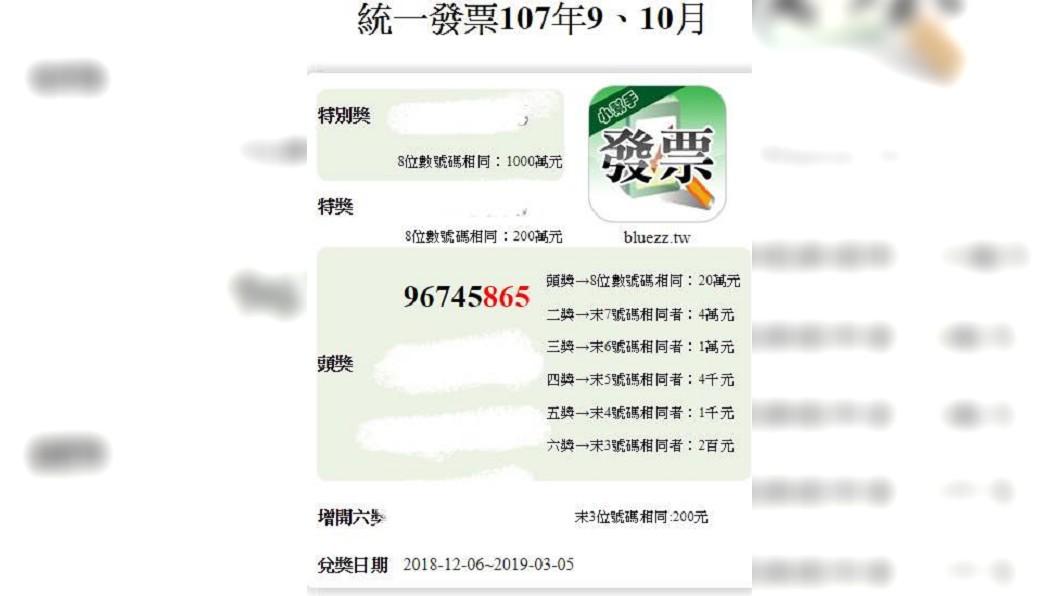 原PO的發票號碼與當期頭獎號碼末5位數字相同。圖/翻攝自爆廢公社