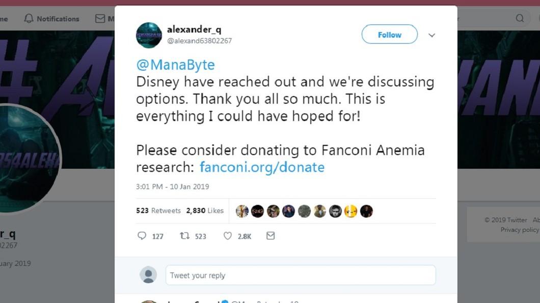 許多網友看完亞歷山大的故事後,紛紛表示要捐款給他,但亞歷山大卻希望大家將錢轉捐給基金會。圖/翻攝自Twitter