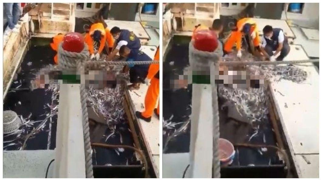 台南將軍漁港一艘漁船在捕魚上岸時,赫見一具發紫的男屍卡在漁網上。(圖/翻攝自爆料公社) 捕魚驚見「發紫男屍卡漁網」 網嚇壞:一路好走