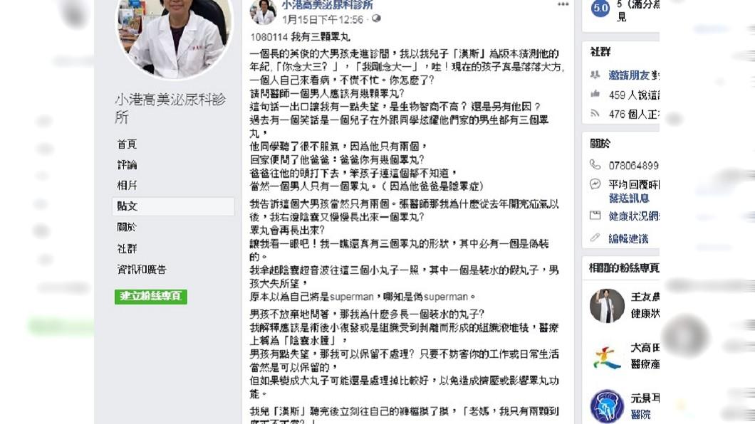 圖/翻攝自臉書「小港高美泌尿科診所」