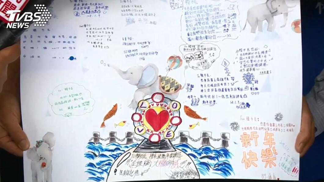 小朋友畫給韓國瑜的感謝卡片。圖/TVBS