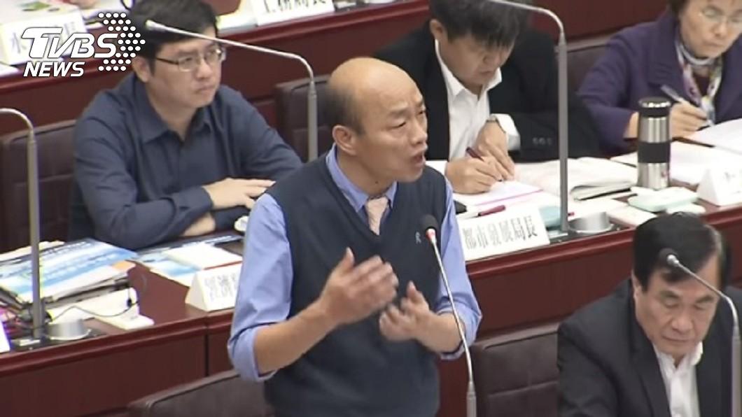 韓國瑜17日首次以高雄市長的身分,到市議會進行施政報告及備詢。圖/TVBS 議會備詢處女秀吐心聲 網大讚韓國瑜這段話超酸