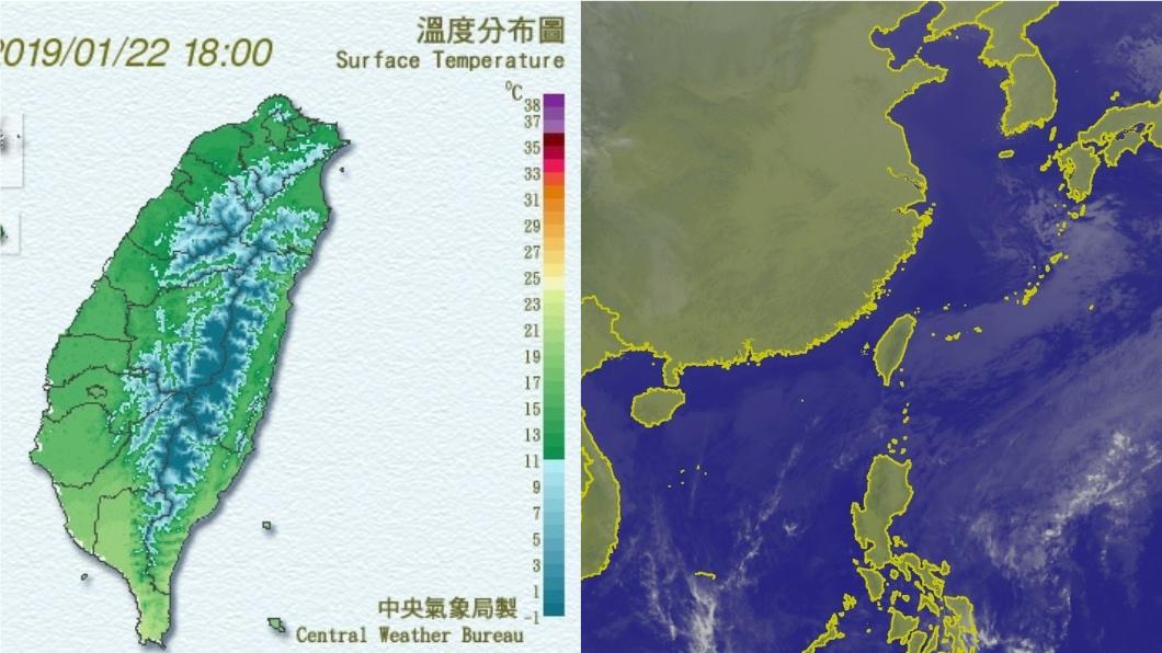 今晚(22日)到明晨(23日)是這波冷氣團最冷的時間點,民眾務必注意保暖。圖/中央氣象局