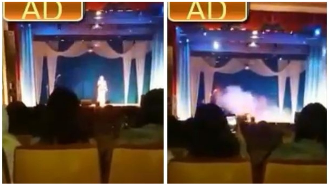 俄羅斯日前發生一名女歌手在台上唱歌飆高音時,突然倒地猝逝的意外事件。(圖/翻攝自YouTube) 驚!女歌手台上飆高音 下一秒倒地猝死