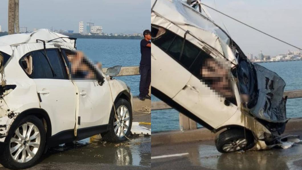 圖/翻攝自中國報 緊繫安全帶、手抓門把 他遭撞墜海「想逃卻慘死」