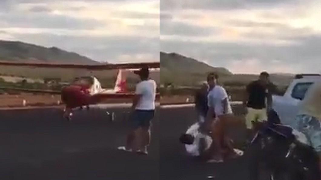 圖/翻攝自 YouTube 蠢男擋跑道拍照 下一秒用肉身把飛機撞毀了
