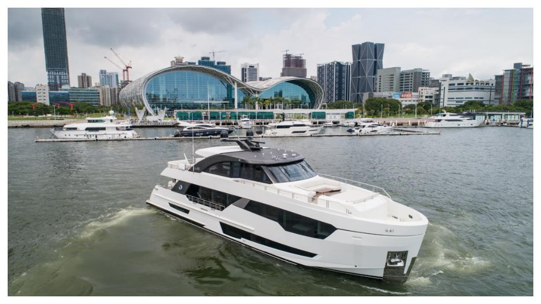 打造台灣遊艇王國!台灣全遊艇出口金額為42•7億元,其中出口主力美洲佔79%,歐洲約佔10%,亞洲約佔7%。國際知名遊艇產業雜誌《ShowBoats International》統計,2018年全球80呎以上豪華遊艇生產國家,台灣位居亞洲第一,全球第四。  圖/東哥遊艇