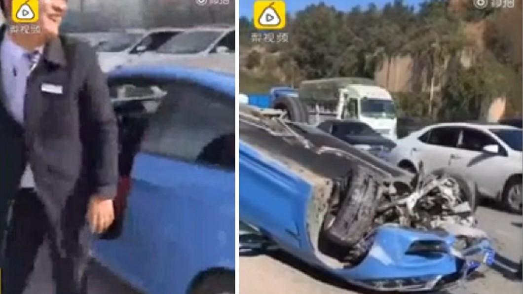 男子駕車約一個小時後,竟在路上遇到翻車意外。(圖/翻攝自梨視頻) 男炫耀BMW跑車後「翻車」 業者:那是試駕車