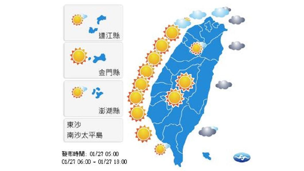 圖/中央氣象局 強烈大陸冷氣團影響 北臺灣整天涼冷、中南部日夜溫差大
