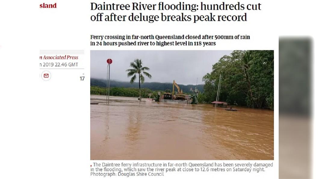 圖/翻攝自The Guardian 澳洲北部暴雨成災破118年紀錄 居民受困