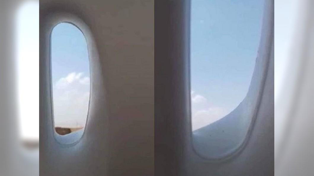 網友PO出疑似機艙風景照。合成圖/翻攝自爆廢公社 他爽曬機上風景照 拿遠一看...2萬人幫哭!
