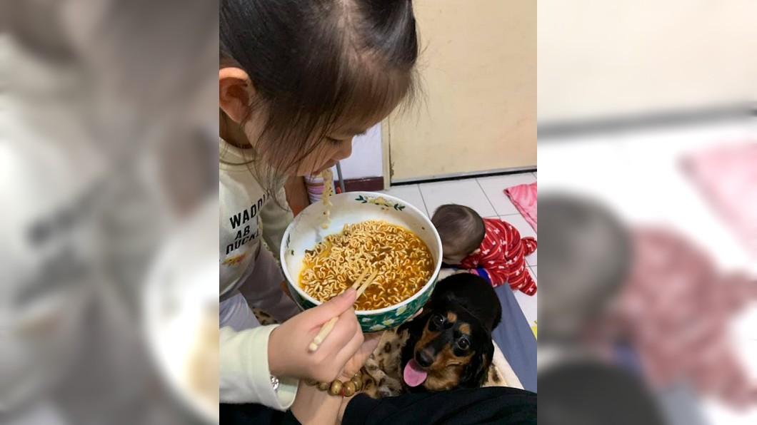 男網友分享一張女兒吃著泡麵,旁邊還一個小小孩在地上,狗狗在一旁眼巴巴看著的照片。(圖/翻攝自爆廢公社)