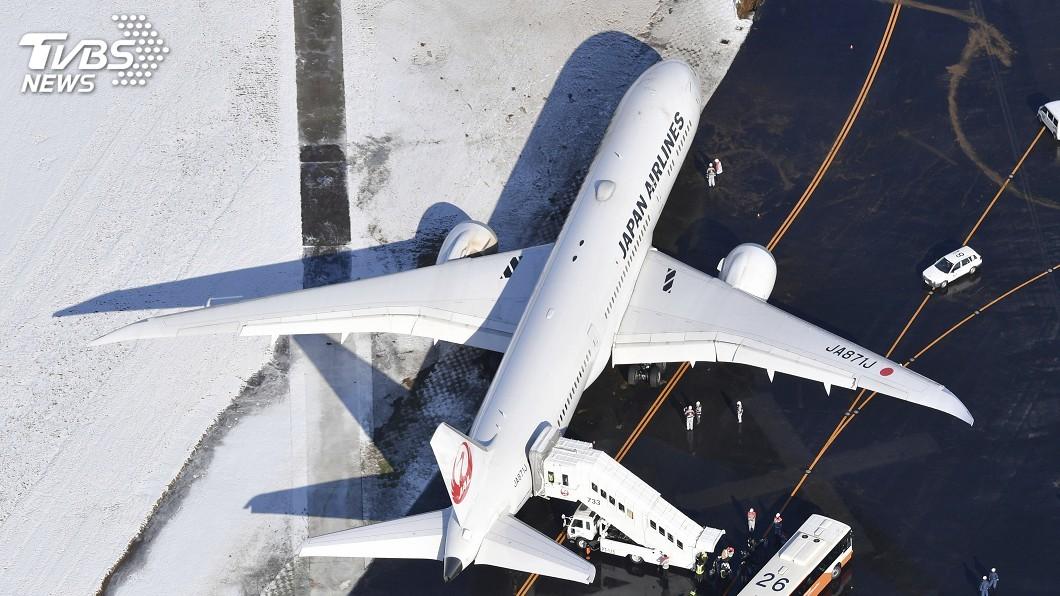 圖/達志影像美聯社 疑因跑道積雪影響 日航機打滑困成田機場滑行道