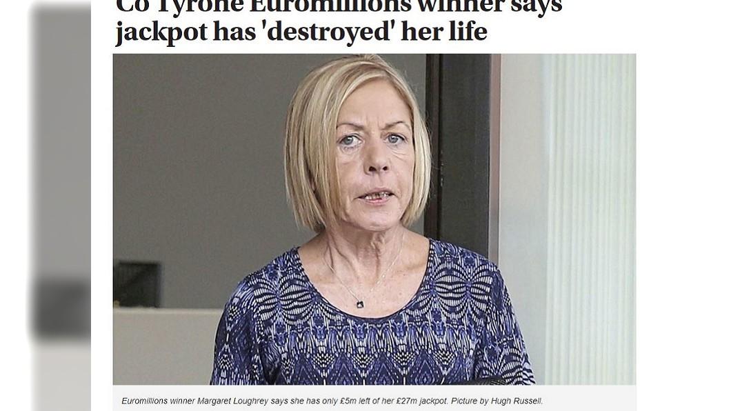 瑪格麗特中獎後活得如同在地獄中,如今不但面容憔悴,也失去笑容。圖/翻攝自The Irish News網站