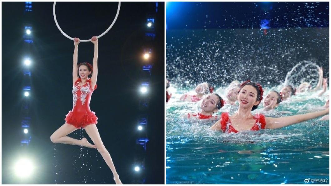 林志玲在春晚大秀水上芭蕾,頗受網友好評。(圖/翻攝自微博) 志玲姐姐秀水上芭蕾 「水下替身」爆:她最後一天才來