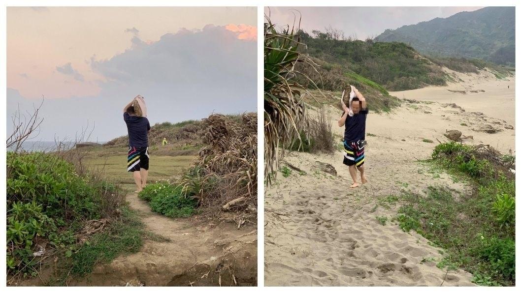 有民眾發現男子公然在墾丁國家公園的佳樂水沙灘區搬走珊瑚礁石。(圖/翻攝自爆料公社) 公然鑿走墾丁珊瑚礁石 男被阻囂張嗆:要拍就拍啊!