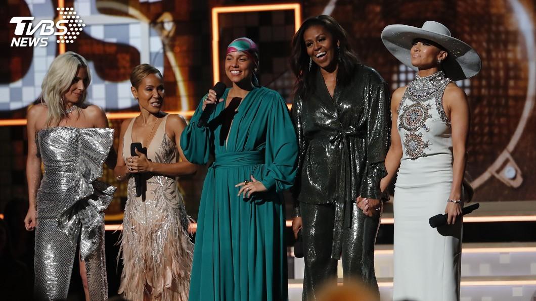 圖/達志影像路透社 葛萊美獎驚喜 蜜雪兒歐巴馬上台為女力發聲