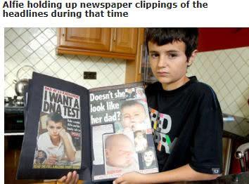 當時報導「英國最年輕小爸爸」阿飛(Alfie)的報紙簡章。圖/翻攝自《GoodTimes》