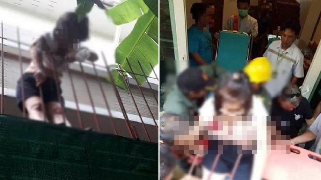 圖/翻攝自Khaosod網站 妙齡女意外墜樓 胸頸遭欄杆插體內無法動彈