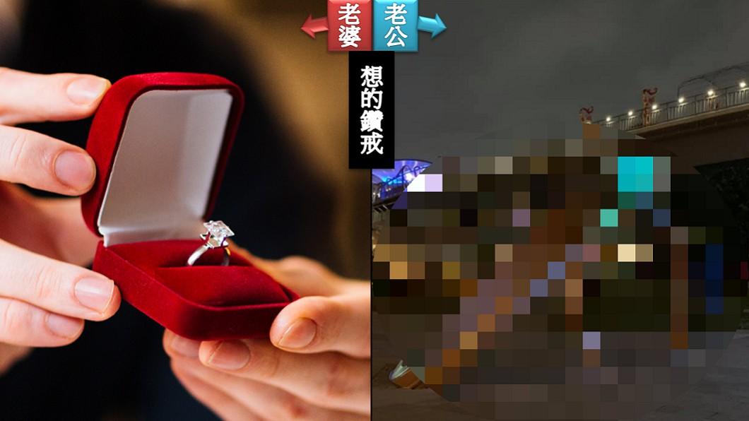 圖/(左)TVBS示意圖,(右)翻攝臉書爆廢公社 「帶妳看鑽戒!」浪漫傳情妻卻秒變臉 網笑翻:還活著嗎
