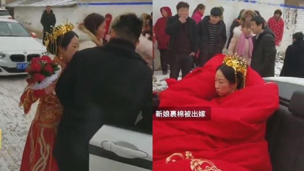 圖/翻攝自梨視頻 雪天坐敞篷車出嫁 新娘裹厚被...表情超不爽