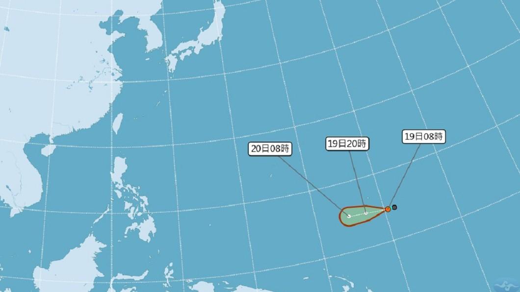 圖/中央氣象局 關島熱帶性低氣壓可能成颱 影響台灣機率低